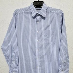 CLUB ROOM Mens Blue Stripe Dress Shirt